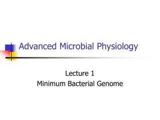 Advanced Microbial Physiology