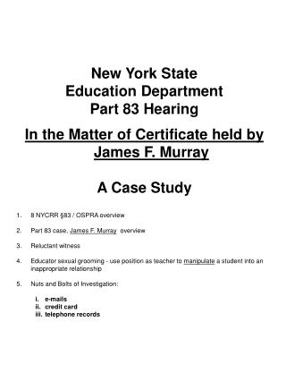 New York State Education Department Part 83 Hearing