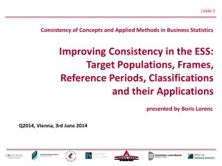 Consistency of Concepts and Applied Methods in Business Statistics