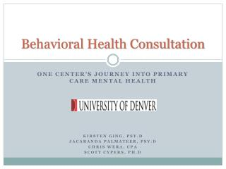 Behavioral Health Consultation
