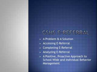 GSHS E-Referral