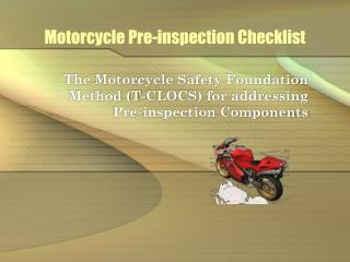 Motorcycle Pre-inspection Checklist