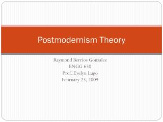 Postmodernism Theory