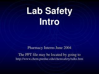 Lab Safety Intro