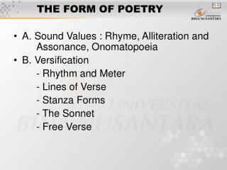 THE FORM OF POETRY