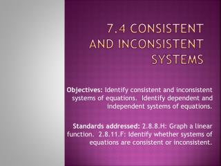 7.4 Consistent and Inconsistent Systems