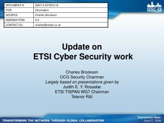 Update on  ETSI Cyber Security work