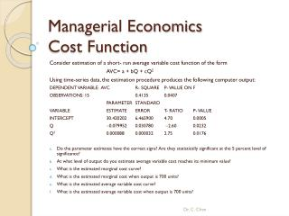 Managerial Economics  Cost Function