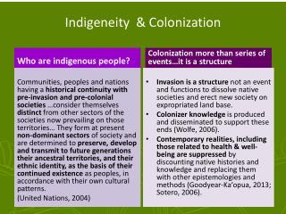 Indigeneity   & Colonization