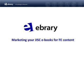 Marketing your JISC e-books for FE content