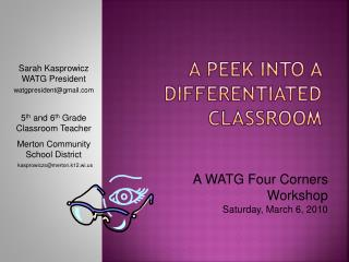 A Peek Into a Differentiated Classroom