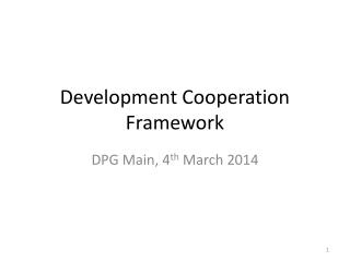Development Cooperation Framework