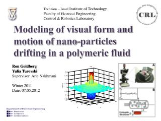 Modeling of visual form and motion of  nano -particles drifting in a polymeric fluid