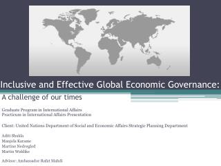 Inclusive and Effective Global Economic Governance:
