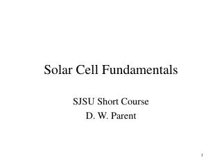 Solar Cell Fundamentals