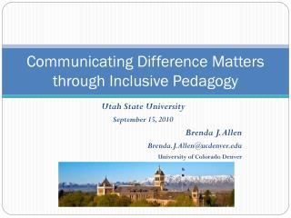 Communicating Difference Matters through Inclusive Pedagogy