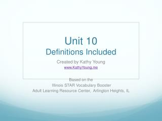 Unit 10 Definitions Included