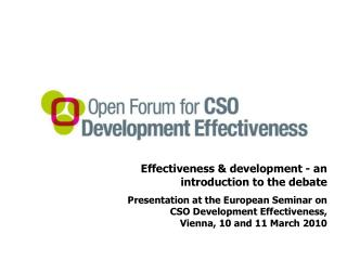 Effectiveness & development - an introduction to the debate