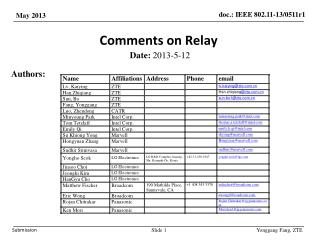 Comments on Relay