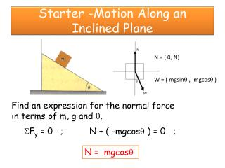 Starter -Motion Along an Inclined Plane