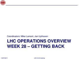 LHC Operations overview Week 28 – Getting back