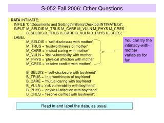 S-052 Fall 2006: Other Questions