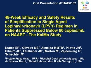 48-Week Efficacy and Safety Results  of Simplification to Single Agent Lopinavir