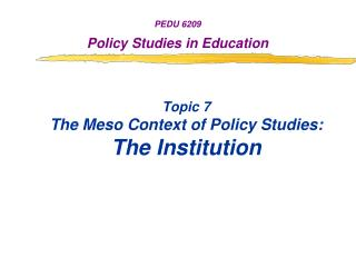 Topic 7 The Meso Context of Policy Studies: The Institution