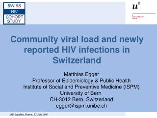 Community viral load and newly reported HIV infections in Switzerland
