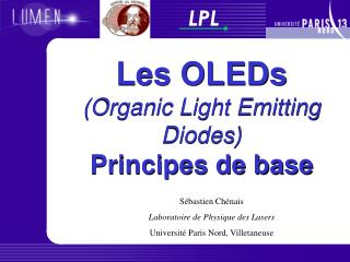 Les OLEDs  Organic Light Emitting Diodes Principes de base