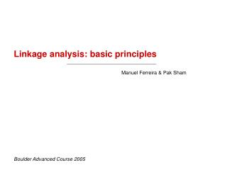 Linkage analysis: basic principles