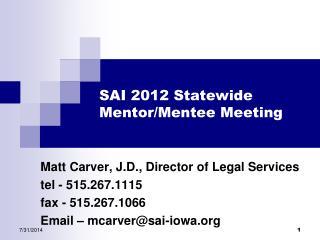 SAI 2012 Statewide  Mentor/Mentee Meeting