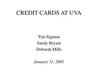 CREDIT CARDS AT UVA