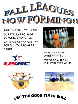 FALL LEAGUES  NOW FORMING!!