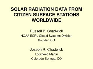 SOLAR RADIATION DATA FROM CITIZEN SURFACE STATIONS WORLDWIDE