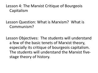 Lesson 4: The Marxist Critique of Bourgeois Capitalism