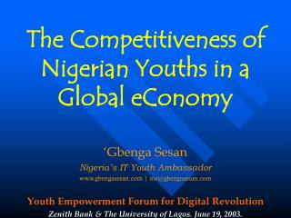 The Competitiveness of Nigerian Youths in a Global eConomy
