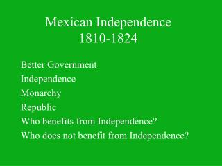 Mexican Independence 1810-1824