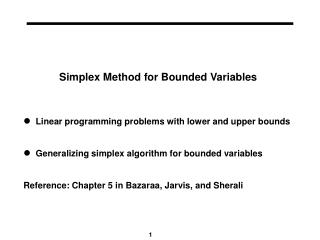 Simplex Method for Bounded Variables