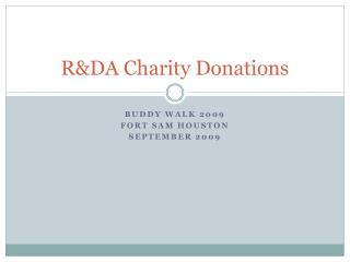 R&DA Charity Donations
