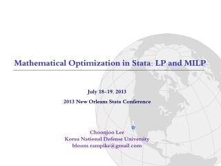 July 18-19, 2013 2013 New Orleans  Stata  Conference