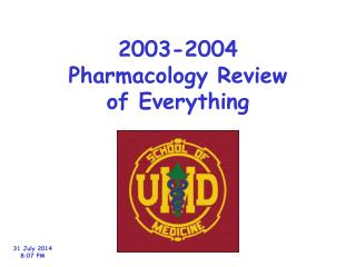 2003-2004 Pharmacology Review of Everything