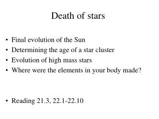 Death of stars