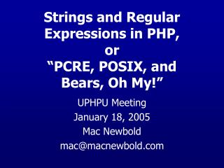 Strings and Regular Expressions in PHP