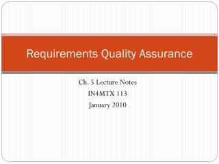 Requirements Quality Assurance