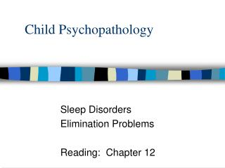 Child Psychopathology