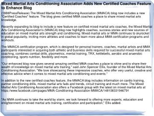 Mixed Martial Arts Conditioning Association Adds New Certifi