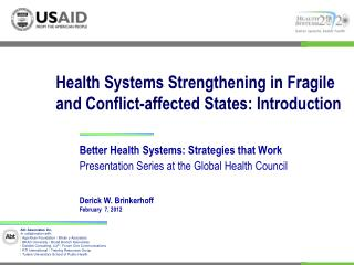 Health Systems Strengthening in Fragile and Conflict-affected States: Introduction