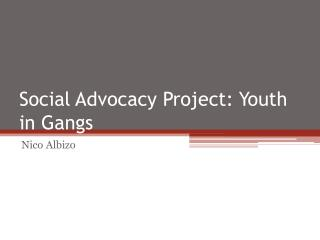 Social Advocacy Project: Youth in Gangs