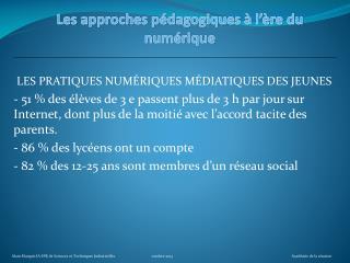 Les approches p�dagogiques � l��re du num�rique